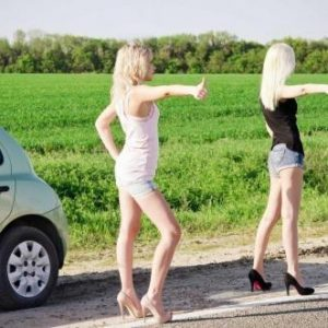 Hitch-hiking stripper prank